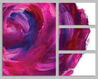 Art background business cards. Stroke of the paint brush. Art background cards. Abstract acrylic roses. Collection of invitation cards. Vector illustration Royalty Free Stock Images