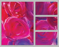 Art background business cards. Stroke of the paint brush. Art background cards. Abstract acrylic roses. Collection of invitation cards. Vector illustration Stock Photo