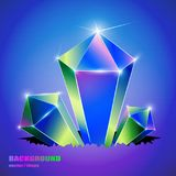 Art background. Colored crystals growing from a crack. stock illustration
