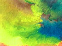 Watercolor art background abstract colorful textured blue yellow blot overflow strokes Royalty Free Stock Photography