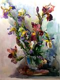 Watercolor art background colorful iris flowers  bouquet spring white blue purple violet. Art background extruded watercolor. textured wet wash blurred brush Stock Photo