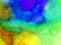 Watercolor art  background abstract sea coast blue yellow green overflow colorful textured wet wash blurred. Art background extruded watercolor. textured wet Royalty Free Stock Photo