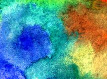 Watercolor art  background abstract sea coast blue brown yellow green overflow colorful textured wet wash blurred. Art background extruded watercolor. textured Stock Images
