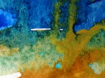 Watercolor art  background abstract  blue yellow overflow colorful textured wet wash blurred Royalty Free Stock Images