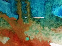 Watercolor art  background abstract  blue red overflow colorful textured wet wash blurred Royalty Free Stock Photos