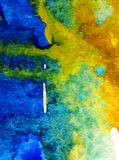 Watercolor art  background abstract  blue yellow overflow colorful textured wet wash blurred. Art background extruded watercolor. textured wet wash blurred brush Stock Photography