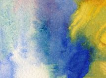 Watercolor art background abstract colorful textured wet wash blurred overflow blots Stock Photos