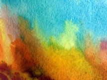Watercolor art background abstract landscape forest autumn blue brown yellow colorful textured wet wash blurred. Art background extruded watercolor. textured wet Stock Image
