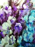Watercolor art background colorful flowers bouquet garden Stock Photos