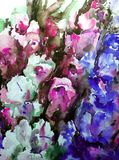 Watercolor art background colorful flowers bouquet garden Royalty Free Stock Photos
