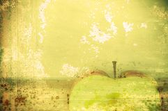 Art background green apple in grunge style Stock Photo