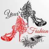 Art  background with hand drawn girls  shoes and feather  Royalty Free Stock Image
