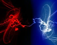 Dark Zappy Electric Connections Background. Art background illustration red , blue, black and white electric connection. Swirly Artistic background. Fun for all Royalty Free Stock Photography