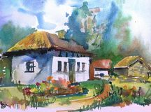 Watercolor art background landscape hut ancient old folk village  colorful textured. Art background  landscape with hunts executed with watercolors from nature Stock Images