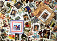 Art. Background of postage stamps Royalty Free Stock Photography