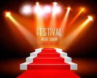 Art Background With A Red Carpet and Spotlight. Royalty Free Stock Image
