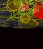Art background from sliced vegetable Stock Photography