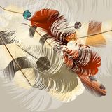 Art background with vector realistic feathers Royalty Free Stock Images