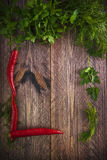 Art background vegetable early board table wooden parsley dill p stock images
