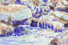 Art background of water flowing over rocks in a stream. Original pen and ink artwork stock illustration