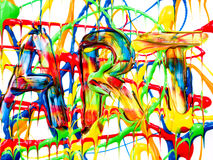 Art background. Word in wet paint stock images