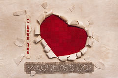 Art banner design in shape of heart in old paper with words I Lo Stock Photography