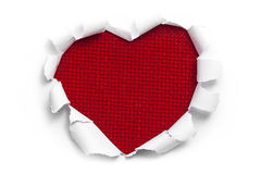 Art banner design in shape of heart in white paper Stock Photo