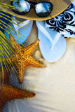 Art beach accessories on a deserted tropical beach Royalty Free Stock Images