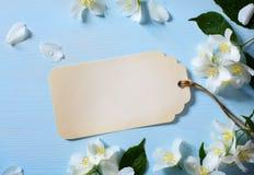 Art Beautiful jasmine Flowers and vintage card Stock Photos