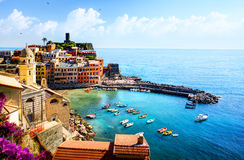 Art beautiful old town of Liguria Italy Europe. Stock Image