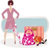 Art of beauty. Fashion background with female going to the vacations and her bags Royalty Free Stock Image