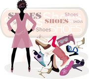 Art of beauty. Fashion background with female in dress and heels, shoes, boots and other footwear Stock Images