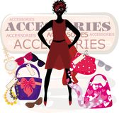 Art of beauty. Vector illustration of the fashion girl with accesories - glasses, watches, bags, scarf and beads Royalty Free Stock Photography