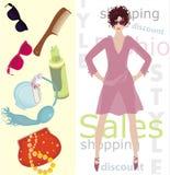 Art of beauty. Vector illustration of the fashion girl with handbag, glasses, brush,  perfume and foam Stock Photo