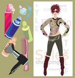 Art of beauty. Vector illustration of fashion girl and beauty accesories Royalty Free Stock Photo