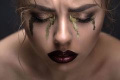 Art beauty close-up portrait of a beautiful model Stock Photos