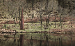 Art on the Black Loch in the Galloway Forest Park. Art sculpture on the Black Loch in the Galloway Forest Park of Scotland royalty free stock photos