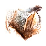 Art Black, orange watercolor ink paint blob watercolour splash c. Olorful stain isolated on white background royalty free stock photo