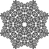 Art Black Technical Seamless Symmetric-Muster auf Weiß Stockfoto