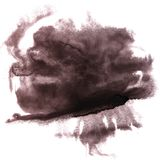 Art The black watercolor ink paint blob watercolour splash color. Ful stain isolated on white background 2 stock photo