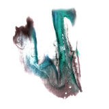 Art Blue, black watercolor ink paint blob. Watercolour splash colorful stain isolated on white background royalty free illustration