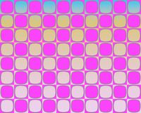 art blue checkerboard op pink rounded squares Ελεύθερη απεικόνιση δικαιώματος