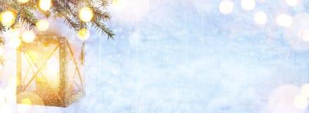 Art Blue Christmas; Christmas tree and Holidays light on snow ba. Blue Christmas; Christmas tree and Holidays light on snow background Stock Photos