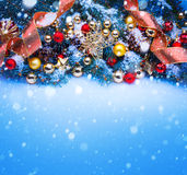 Art a blue Christmas greeting card stock image