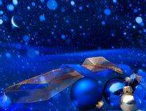 Art Blue Christmas hälsningkort Royaltyfria Foton