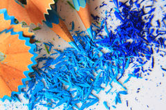 Art of blue color pencils and color graphite dust Stock Photography