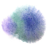 Art blue green watercolor ink paint blob. Watercolour splash colorful stain isolated on white background texture Stock Photo