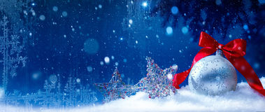 Art blue snow christmas background Royalty Free Stock Photo