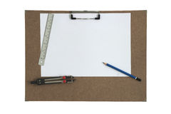 Art board and stationary isolated white Stock Photo