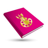 Art book. Art pink book with gold painting 3d icon palette Stock Images